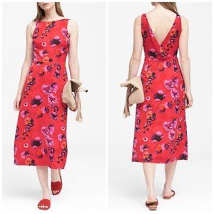Banana Republic Floral V Back Fit Flare Midi Dress
